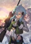 1girl aqua_eyes belt black_shorts blue_hair breasts building closed_mouth clouds cloudy_sky fingerless_gloves gloves gun hair_between_eyes hair_ornament hairclip highres holding holding_bullet holding_gun holding_weapon medium_breasts nkmr8 rifle scarf short_hair short_hair_with_long_locks short_shorts shorts sinon sky sniper_rifle standing sword_art_online weapon