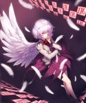 1girl bangs bare_legs bow bowtie braid covering_mouth dress dutch_angle eyebrows_visible_through_hair feathered_wings feathers french_braid full_body gradient gradient_background hair_between_eyes hand_on_own_face jacket kaiza_(rider000) kishin_sagume long_sleeves looking_at_viewer open_clothes open_jacket purple_background purple_dress red_bow red_eyes shoes short_dress short_hair silver_hair single_wing solo touhou white_jacket white_wings wind wind_lift wings
