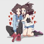 1boy 1girl black_vest blue_eyes blush breasts brown_hair commentary_request creatures_(company) cutoffs denim denim_shorts enamo_(dcah) game_freak high_ponytail long_hair medium_hair nintendo open_mouth pokemon pokemon_(game) pokemon_bw ponytail shirt shorts sidelocks smile touko_(pokemon) touya_(pokemon) vest white_shirt wristband