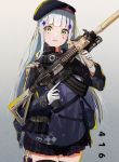 1girl assault_rifle bangs beret black_legwear blunt_bangs blush breasts character_name clothes_writing cowboy_shot eyebrows_visible_through_hair facial_mark girls_frontline gloves gradient gradient_background green_eyes gun hair_ornament hat heckler_&_koch hk416 hk416_(girls_frontline) holding holding_gun holding_weapon jacket kinoruru_toiro long_hair looking_at_viewer magazine_(weapon) medium_breasts open_mouth plaid plaid_skirt pleated_skirt rifle silver_hair skirt solo teardrop thigh-highs thigh_pouch thigh_strap trigger_discipline very_long_hair weapon