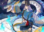1boy abe_no_seimei_(onmyoji) achyue beads black_hat blue_eyes blue_fire bracer bridal_gauntlets closed_mouth dragon eastern_dragon eyeliner feathers fire flame gauntlets hat japanese_clothes long_hair looking_at_viewer makeup ofuda onmyoji onmyouji prayer_beads tassel tate_eboshi teeth very_long_hair white_feathers white_hair yellow_eyes