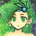 1girl bare_shoulders commentary_request earrings final_fantasy final_fantasy_iv green_eyes green_hair hair_ornament jewelry long_hair rydia solo yadoso
