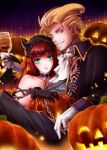 1boy 1girl blonde_hair blush dress gloves gustaf halloween halloween_costume jack-o'-lantern long_hair maronee_san primiera_(saga) pumpkin redhead saga saga_frontier saga_frontier_2