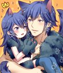 1boy 1girl animal_ears black_gloves blue_hair blue_legwear carrying child crop_top father_and_daughter fire_emblem fire_emblem:_kakusei fur_trim gloves halloween halloween_costume krom long_hair lucina mejiro midriff nintendo orange_background panther_ears panther_tail paw_gloves paws shiny shiny_hair stomach thigh-highs wolf_ears