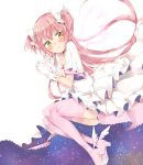 1girl blush bow brooch choker cleavage_cutout clenched_hands commentary_request dress gloves goddess_madoka hair_bow hands_up high_heels highres jewelry kaname_madoka long_hair mahou_shoujo_madoka_magica pink_hair pink_legwear short_sleeves smile solo spoilers starry_sky_print tatsuyoshi_(zawahomura) thigh-highs two_side_up white_bow white_choker white_dress white_gloves winged_footwear wings yellow_eyes