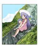 2girls barefoot blue_hair child closed_eyes clouds commentary_request dress from_side full_body furude_rika green_dress hands_on_own_knees hanyuu hat higurashi_no_naku_koro_ni kototoki long_hair looking_at_viewer mountain multiple_girls open_mouth outdoors pink_dress purple_hair sandals sitting sky smile stairs sun_hat sundress violet_eyes younger
