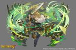 3girls barefoot braid cape circlet company_name copyright_name dress fullbokko_heroes gauntlets green_cape green_dress green_hair green_skin grey_background holding holding_sword holding_weapon long_hair multiple_girls official_art pota_(bluegutty) running slashing sword very_long_hair weapon
