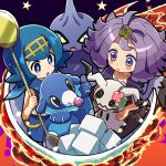 2girls :< acerola_(pokemon) black_eyes blue_eyes blue_hair blue_pants blush_stickers closed_mouth creatures_(company) cup dress elite_four flipped_hair game_freak gen_3_pokemon gen_7_pokemon hair_ornament hairband holding holding_pokemon kingin mimikyu multiple_girls nintendo pants pokemon pokemon_(anime) pokemon_(creature) pokemon_sm_(anime) popplio purple_hair shirt short_hair shuppet sitting sleeveless sleeveless_shirt star stitches sugar_cube suiren_(pokemon) teacup teaspoon trial_captain violet_eyes