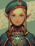 1boy artist_name bellhenge blonde_hair blue_eyes blue_hat closed_mouth commentary earrings emblem eyebrows forehead hat jewelry link lips male_focus military military_uniform nintendo pointy_ears portrait rope short_hair_with_long_locks solo the_legend_of_zelda the_legend_of_zelda:_breath_of_the_wild triforce uniform v-shaped_eyebrows