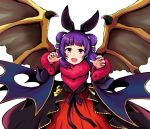 1girl animal_ears bat_ears dragon_wings dress fake_animal_ears fang fire_emblem fire_emblem:_seima_no_kouseki fire_emblem_heroes fur_trim halloween_costume im008073 long_sleeves mamkute multi-tied_hair myrrh nintendo open_mouth purple_hair red_eyes simple_background solo twintails white_background wings