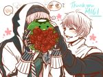 2boys 66_(roro) blush closed_eyes covering_face embarrassed flower gloves green_eyes heart highres hood hoodie kappa male_focus multiple_boys paid_reward pink_hair red_flower red_rose rose ryllen smile spoken_heart stuffed_animal stuffed_toy thank_you vocaloid vy2 yuecheng