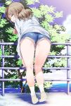 1girl ass bangs blue_eyes blue_shorts blue_sky brown_hair clouds cloudy_sky commentary eyebrows_visible_through_hair from_behind full_body grin half-closed_eyes hand_on_own_leg heel_up inu_(aerodog) kneepits leaning_forward legs long_sleeves looking_at_viewer looking_back love_live! love_live!_sunshine!! medium_hair ocean outdoors panties panty_peek railing shoes short_shorts shorts sky smile socks solo standing sweater thighs tree twitter_username underwear upshorts w watanabe_you white_footwear white_legwear white_sweater yellow_panties