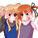 2girls bangs black_ribbon black_scrunchie blonde_hair blue_shirt brown_hair closed_mouth commentary_request eyebrows_visible_through_hair fate_testarossa hair_ribbon kohaku_(kohagura) light_blush long_hair long_sleeves looking_at_viewer lyrical_nanoha mahou_shoujo_lyrical_nanoha money_gesture multiple_girls pink_legwear plaid plaid_shirt purple_shirt red_eyes ribbon scrunchie shirt short_hair short_twintails side-by-side simple_background smile takamachi_nanoha twintails upper_body violet_eyes white_background white_shirt