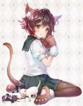 1girl 888myrrh888 :o animal animal_ears argyle argyle_background ass bangs black_legwear blush brown_hair cat cat_ears cat_tail commentary_request eyebrows_visible_through_hair figure full_body green_skirt hair_between_eyes highres kantai_collection kemonomimi_mode looking_at_viewer looking_to_the_side mutsuki_(kantai_collection) open_mouth pantyhose paws pleated_skirt school_uniform serafuku shirt short_hair short_sleeves sitting skirt solo tail wariza white_cat