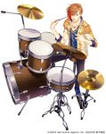 1boy blue_footwear brown_eyes brown_hair company_name copyright_request cymbals dated drum drum_set drumsticks epaulettes hi-hat instrument jewelry male_focus necklace official_art orange_hair pants sitting solo stool white_background yukikana
