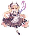 1girl absurdres apron black_bow black_dress black_footwear blonde_hair bow breasts cleavage cup demon_horns dress earrings fangs full_body ghost hair_bow highres horns ibex jewelry maid_apron medium_breasts monocle original pantyhose pink_eyes pointy_ears pouring skull standing standing_on_one_leg teacup twintails white_background white_legwear