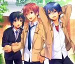 3boys angel_beats! black_pants blazer blue_hair blue_neckwear brown_eyes brown_hair commentary_request cowboy_shot fence gakuran green_hair hinata_(angel_beats!) jacket male_focus multiple_boys naoi_ayato open_mouth otonashi_(angel_beats!) pants satomi_yoshitaka school_uniform shinda_sekai_sensen_uniform smile violet_eyes yellow_eyes