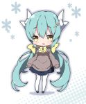 1girl :d alternate_costume bangs black_footwear blue_skirt blush bow bowtie brown_eyes brown_sweater collared_shirt commentary_request dragon_horns eyebrows_visible_through_hair fate/grand_order fate_(series) green_hair hair_between_eyes hair_bow hair_ornament hairclip halftone halftone_background horns kiyohime_(fate/grand_order) long_hair long_sleeves low_twintails mary_janes milkpanda open_mouth pleated_skirt puffy_long_sleeves puffy_sleeves shirt shoes skirt sleeves_past_wrists smile solo sweater thigh-highs twintails very_long_hair white_background white_legwear white_shirt yellow_bow yellow_neckwear