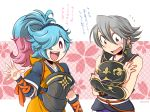 1boy 1girl alternate_hairstyle armor blue_hair cherry_blossoms cosplay costume_switch covering covering_chest fire_emblem fire_emblem_if hair_over_one_eye hinata_(fire_emblem_if) hinata_(fire_emblem_if)_(cosplay) japanese_clothes ki_(mona) kimono lazward_(fire_emblem_if) long_hair multicolored_hair nintendo oboro_(fire_emblem_if) oboro_(fire_emblem_if)_(cosplay) open_mouth pieri_(fire_emblem_if) pink_hair ponytail smile translation_request