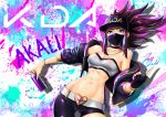 1girl abs akali asymmetrical_clothes bandeau bangle baseball_cap belt belt_buckle black_choker bracelet breasts brown_hair buckle character_name choker cleavage covered_mouth cropped_jacket eyeliner face_mask fingerless_gloves gloves graffiti hat heart highres idol jazzjack jewelry k/da_(league_of_legends) k/da_akali league_of_legends looking_at_viewer makeup mask medium_breasts medium_hair navel necklace off_shoulder puffer_jacket signature single_glove single_pantsleg sleeves_pushed_up slender_waist solo spray_can toned violet_eyes