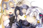 3girls :d bare_shoulders bell black_gloves blue_eyes blush blush_stickers bow fate/apocrypha fate/grand_order fate_(series) fur_trim gauntlets gloves hair_bow helmet iwasaki_takashi jeanne_d'arc_(alter)_(fate) jeanne_d'arc_(fate) jeanne_d'arc_(fate)_(all) jeanne_d'arc_alter_santa_lily long_hair looking_at_viewer multiple_girls open_mouth simple_background smile v white_background white_hair yellow_eyes
