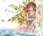 1girl artist_name bare_arms bare_shoulders blush bow breasts brown_hair cleavage collarbone dated flower flower_request hair_bow hmw_(pixiv7054584) long_hair looking_at_viewer miniskirt no_shoes original parted_lips partially_submerged plant red_eyes red_flower reflection refraction shirt sitting skirt sleeveless sleeveless_shirt smile solo thigh-highs twintails upper_teeth water water_drop waterfall white_legwear white_skirt yokozuwari