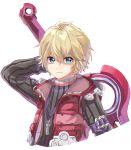1boy blonde_hair blue_eyes highres looking_at_viewer male_focus monado nintendo ruiko_12 short_hair shulk smile solo super_smash_bros. sword weapon xenoblade_(series) xenoblade_1