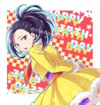 1girl black_eyes black_hair boku_no_hero_academia fur_trim hiyori_(rindou66) jacket leaning_forward long_hair long_sleeves looking_at_viewer open_mouth orange_neckwear ponytail purple_legwear purple_shirt shiny shiny_hair shirt skirt solo standing yaoyorozu_momo yellow_jacket yellow_skirt