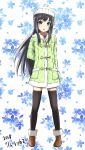 1girl alternate_costume asashio_(kantai_collection) black_hair black_legwear blue_eyes blush brown_footwear floral_background full_body graphite_(medium) h2_(h20000000) hat highres jacket kantai_collection long_hair long_sleeves looking_at_viewer open_mouth shoes solo traditional_media white_hat winter_clothes