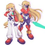 1boy bangs blonde_hair blue_eyes energy_blade energy_sword facial_mark forehead_mark full_body girouette glasses highres holding livemetal long_hair male_focus model_z omeehayo open_mouth pants robot_ears rockman rockman_zx simple_background standing sword weapon white_background white_pants