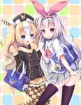 2girls alternate_costume azur_lane bag blonde_hair blue_eyes character_doll commentary_request gloves hair_ribbon hat highres hobby_(azur_lane) kalk_(azur_lane) karaage3 lavender_hair long_hair looking_at_viewer multicolored_hair multiple_girls open_mouth pantyhose red_eyes ribbon school_bag school_uniform thigh-highs tongue tongue_out v waving