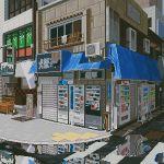 air_conditioner animated animated_gif awning balcony bench building crosswalk highres no_humans original pixel_art puddle railing real_world_location reflection scenery sidewalk sign sliding_doors traffic_light translation_request vending_machine waneella