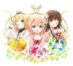 3girls ;) anko_(gochiusa) blazer blonde_hair blue_eyes blush bouquet brown_hair clenched_hand closed_mouth collarbone eyebrows_visible_through_hair flower gochuumon_wa_usagi_desu_ka? green_eyes hair_between_eyes hair_flower hair_ornament hairclip head_tilt hoto_cocoa jacket kirima_sharo koi_(koisan) long_sleeves looking_at_viewer multiple_girls necktie official_art one_eye_closed plaid_neckwear school_uniform serafuku smile sweater tedeza_rize's_school_uniform tippy_(gochiusa) ujimatsu_chiya upper_body violet_eyes white_background wild_geese