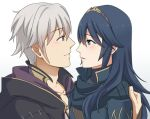 1boy 1girl blue blue_hair blush brown_hairband collarbone couple eye_contact eyes fire_emblem fire_emblem:_kakusei from_side hairband long_hair looking_at_another looking_at_viewer lucina male_my_unit_(fire_emblem:_kakusei) mejiro my_unit_(fire_emblem:_kakusei) nintendo parted_lips silver_hair simple_background smile upper_body white_background