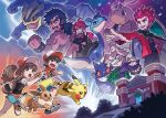 3boys 3girls absurdres brown_hair cane cape clenched_hand creatures_(company) dragonite eevee elite_four evil_smile female_protagonist_(pokemon_lgpe) game_freak gen_1_pokemon gengar hand_on_hip hat highres huge_filesize jacket kanna_(pokemon) kikuko_(pokemon) lapras machamp male_protagonist_(pokemon_lgpe) multiple_boys multiple_girls muscle nintendo official_art old_woman open_mouth outstretched_arm pikachu poke_ball_symbol pokemon pokemon_(game) pokemon_lgpe redhead shiba_(pokemon) smile spiky_hair studded_bracelet tail wataru_(pokemon)