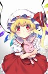 1girl :o ascot bangs blonde_hair blush flandre_scarlet frilled_skirt frills gradient gradient_background grey_background hat hat_ribbon head_tilt kapuchii long_hair looking_at_viewer mob_cap object_hug puffy_short_sleeves puffy_sleeves red_eyes red_ribbon red_skirt red_vest ribbon shirt short_sleeves side_ponytail skirt skirt_set solo stuffed_animal stuffed_bunny stuffed_toy touhou vest white_background white_hat white_shirt wings yellow_neckwear