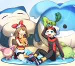 1boy 1girl :d arm_up bike_shorts black_pants black_shorts blue_eyes brown_footwear brown_hair closed_eyes creatures_(company) fingerless_gloves floating_hair full_body game_freak gen_1_pokemon gen_3_pokemon gloves gulpin haruka_(pokemon) highres kneeling long_hair long_sleeves looking_up miniskirt mudkip nintendo open_mouth pants pencil_skirt poke_ball_print pokemon pokemon_(creature) pokemon_(game) pokemon_on_head pokemon_oras red_bandana red_shirt shirt short_shorts short_sleeves shorts shorts_under_skirt sitting skirt skitty smile snorlax torchic treecko twintails wailmer white_skirt yuihiko yuuki_(pokemon)