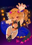 1girl alternate_costume arm_up armpits bandage bangs bare_arms bare_shoulders black_border black_legwear black_vest blue_background border breasts claw_pose fake_horns fangs flandre_scarlet gotoh510 gradient gradient_background hair_between_eyes halloween hand_up highres horns long_hair looking_at_viewer medium_breasts multicolored multicolored_clothes nail_polish navel one_side_up pink_nails pointy_ears purple_background red_eyes red_vest single_thighhigh solo stomach thigh-highs thighs touhou vest wings