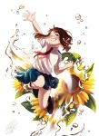 1girl :d blue_skirt boku_no_hero_academia brown_eyes brown_hair clenched_hand flower grin hand_up highres jumping looking_at_viewer nanaminn one_eye_closed open_mouth pleated_skirt short_eyebrows short_hair_with_long_locks skirt smile solo sunflower u.a._school_uniform uraraka_ochako water white_background