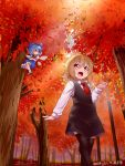 2girls araki_(qbthgry) autumn autumn_leaves black_dress black_legwear blonde_hair blue_bow blue_dress blue_eyes blue_hair bow cirno collared_shirt crossed_arms dated dress fang flying forest hair_between_eyes hair_bow hair_ribbon hand_up ice ice_wings long_sleeves multiple_girls nature necktie outdoors red_eyes red_neckwear red_ribbon ribbon rumia shirt short_dress short_hair smile standing thigh-highs touhou tree white_shirt wing_collar wings