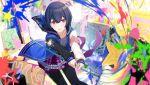 blue_hair blush dress idolmaster idolmaster_shiny_colors morino_rinze red_eyes short_hair sword warrior