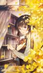 1girl :o black_hair book bookshelf eyebrows_visible_through_hair from_side ginkgo_leaf glasses highres holding holding_book indoors looking_at_viewer original pale_skin short_hair sibyl solo violet_eyes