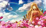 blonde_hair blurry closed_eyes cloud clouds depth_of_field dress flower flower_field long_hair moon orange_hair original rainbow scarecrow siro sky smile sundress
