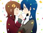 2girls amami_haruka blue_hair blush brown_hair bust cake closed_eyes couple feeding food happy idolmaster kisaragi_chihaya long_hair multiple_girls open_mouth profile short_hair simple_background smile tuhut white_background yellow_eyes yuri
