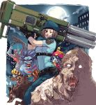 awesome bad_id belt beret capcom cerberus city cloud crossover dog hat jiangshi jill_valentine lei_lei m.u.g.e.n moon ofuda pouch resident_evil rocket_launcher shika_(pixiv) teeth tongue tyrant vampire_(game) weapon wolf zabel_zarock zombie
