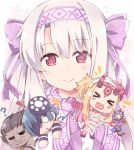 ! >_< /\/\/\ 1boy 4girls :d ? ainu_clothes bangs berserker black_hair blonde_hair blush bow chibi closed_eyes closed_mouth commentary_request dark_skin dark_skinned_male eyebrows_visible_through_hair facing_viewer fang fate/grand_order fate/stay_night fate_(series) fingerless_gloves gloves hair_between_eyes hair_bow hairband horns ibaraki_douji_(fate/grand_order) ibaraki_douji_(swimsuit_lancer)_(fate) illyasviel_von_einzbern light_brown_hair long_hair long_sleeves looking_at_viewer minigirl mochizuki_chiyome_(fate/grand_order) multiple_girls o_o oni oni_horns open_mouth pink_hairband purple_bow purple_gloves red_eyes rioshi shuten_douji_(fate/grand_order) shuten_douji_(halloween)_(fate) sidelocks sitonai sleeves_past_wrists smile snowflakes wavy_mouth xd