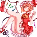 1girl ascot ass blonde_hair commentary_request crystal dress fang feet_out_of_frame flandre_scarlet hair_between_eyes hand_up hat hat_ribbon jan_(lightdragoon) knees_up laevatein light_particles looking_at_viewer mary_janes mob_cap nail_polish panties petticoat puffy_short_sleeves puffy_sleeves red_dress red_eyes red_footwear red_nails red_ribbon ribbon shoes short_hair short_sleeves simple_background smile socks solo touhou underwear white_background white_hat white_legwear white_panties wing_collar wings yellow_neckwear