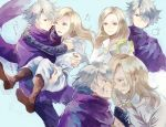 1boy 1girl blonde_hair cloak dress gloves hair_over_one_eye jewelry long_hair necklace octopath_traveler okii open_mouth ophilia_(octopath_traveler) scarf short_hair simple_background smile staff therion_(octopath_traveler) white_hair