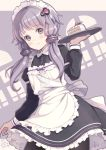 1girl apron black_dress black_legwear blush cake closed_mouth commentary_request dated dress dutch_angle food frilled_apron frilled_dress frills fruit hair_ornament hand_up highres holding holding_tray juliet_sleeves long_hair long_sleeves looking_at_viewer maid maid_headdress pantyhose puffy_sleeves purple_hair ribbed_legwear short_hair_with_long_locks signature slice_of_cake solo strawberry strawberry_shortcake tray victorian_maid violet_eyes voiceroid white_apron window yoshino_ryou yuzuki_yukari