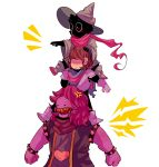 1girl :/ anger_vein bracelet brown_hair capelet carrying clenched_hand deltarune gloves hair_over_eyes hat highres jewelry kris_(deltarune) nuggetu open_mouth piggyback pink_scarf pink_skin pointing ralsei scarf sharp_teeth spiked_armlet spiked_bracelet spikes standing susie_(deltarune) teeth white_background wide_sleeves wizard_hat yellow_teeth